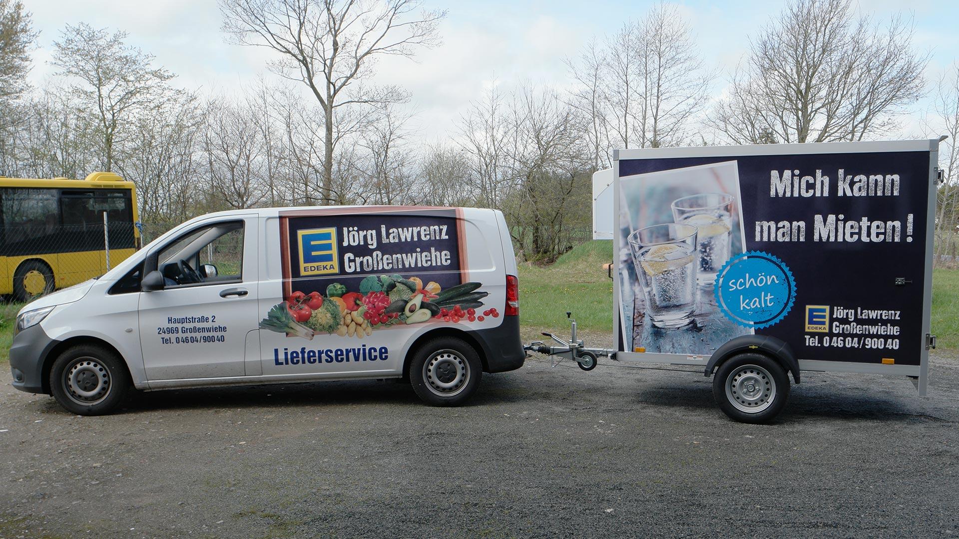 Auto- und Hängerbeschriftung EDEKA Lawrenz Großenwiehe